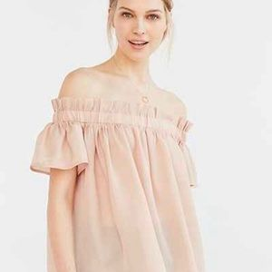 Lucca couture blush off shoulder ruffle top